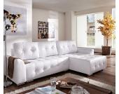 DELIFE Ecksofa Tania 295x170 cm Weiss Couch mit Schlaffunktion, Ecksofas