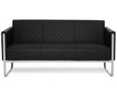 Loungesofa ARUBA STEP Gestell lichtgrau Kunstleder 3-Sitzer schwarz hjh OFFICE