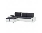 Ecksofa Huelva (mit Schlaffunktion) - Kunstleder/Webstoff - Longchair/Ottomane davorstehend links - Weiß / Grau, roomscape