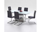 Tischgruppe mit Glastisch Ausziehbar (7-teilig)