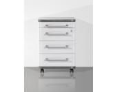 Schreibtisch Rollcontainer in Weiß Grau