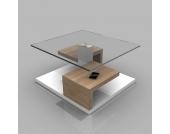 Wohnzimmertisch mit Glasplatte Weiß Hochglanz