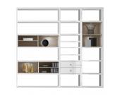 EEK A+, XL Regalwand Emporior I.B - RGB LED-Beleuchtung - Hochglanz Weiß / Eiche Sonoma Dekor, loftscape