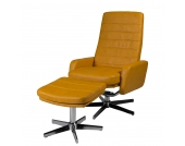 Relaxsessel Benson (mit Hocker) - Kunstleder Senf, Duo Collection