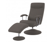 Massagesessel Andrew (mit Hocker) - Lederlook Braun, Nuovoform
