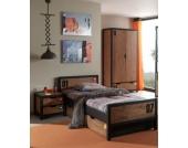 Vipack Set Alex best. aus Nachtkonsole, Einzelbett 90x200, Bettschublade, Kleiderschrank 2-trg. Kiefer gebürstet