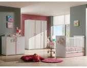 Vipack Set Babyzimmer Valentine best. aus Kommode, Wickelauflage, Kleiderschrank 3-trg., Babybett, Bettschublade Weiß/Rosa