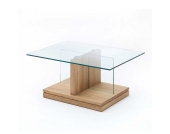 Wohnzimmertisch mit Glasplatte Eiche Massivholz