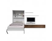 Schrankbett-Kombination Majano - 160 x 205 cm - Schaumstoffmatratze - Weiß / Nussbaum Dekor, Modoform