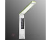 Grüne LED-Tischleuchte Fabio mit Uhr und Akkus