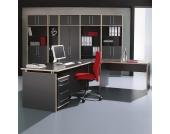 Eugene Schreibtischset (4-teilig) - mit Eckverbindung und Rollcontainer - Anthrazit/Rosales Dekor, home24 office