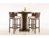 Polyrattan Gartenbar MARI L, Bartisch mit eingelassenem Edelstahl-Kübel, 4 x Barhocker, 4 x Sitzkissen