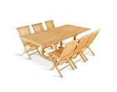 Terrassensitzgruppe aus Teak Massivholz ausziehbar (7-teilig)