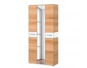 Garderobenschrank Giaveno II - Kernbuche / Glas Weiß - Metall Matt, Wittenbreder