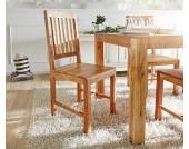 DELIFE Holzstuhl Akazie Natur mit Sprossen Massivholz, Esszimmerstühle