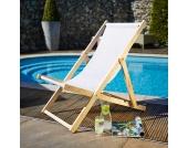 Strand Liegestuhl in Weiß klappbar