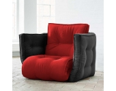 Schlafsessel in Rot Schwarz Futon