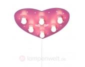 Pinke Deckenleuchte HERZ mit LED-Schlummerlicht