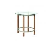 Beistelltisch Carlos - rund - Massivholz/Stahl - Noce/Silber, Home Design