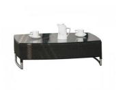 Tisch mit Glasplatte Buri aus Polyrattan, schwarz