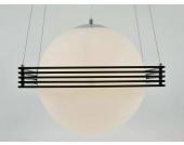 Deckenleuchte Pendelleuchte Lyon 2 mit großer Milchglas Kugel, Schwarz