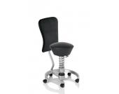 Bürostuhl / Rollhocker SWOPPER WORK CLASSIC-LEDER schwarz / titan mit Lehne u. SPEED-Rollen