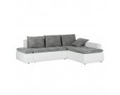 Ecksofa Acklins (mit Schlaffunktion) - Kunstleder/Strukturstoff - Ottomane beidseitig montierbar - Weiß / Grau, Home Design